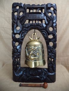 Chinese Buddhist Brass Gong Bell, With Hand Carved Ebony Frame, end 20th century