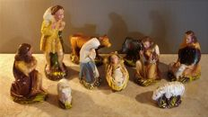 Plaster nativity scene figures, signed P.A.B