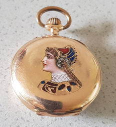 04. Switzerland - Jewellery pocket watch - enamel work - around 1890
