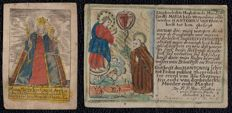 2 Beautifully and finely carved hand coloured devotional prints on paper - 17th century - Antwerp - Joannes de Wit, (S. Antoine de Padou) & unknown (patroness Luxembourg).