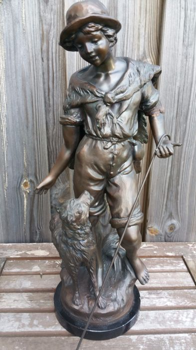 Large zamac sculpture of a shepherd boy. France