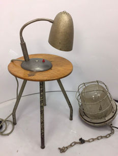Unkown designer – A lamp, small lamp and stool.