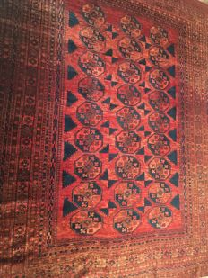 Antique Afghan carpet, Aqcha, 300 cm x 234 cm, Afghanistan, 1920 period