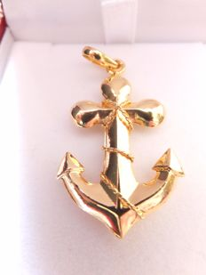 Robust 14 karat yellow gold anchor in 3D, Europe, second half 20th century