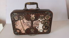"Steampunk small suitcase ""Around the world in 80 days"""