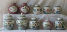 10 handpainted porcelain ginger jars from Jingdezhen - China - second half 20th century
