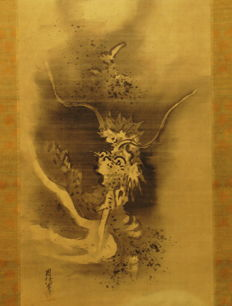 "Antique hanging scroll - ""Dragon Ascending"" - signed Chikanobu - Japan - ca. 1690"