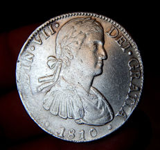 Spain – Ferdinand VII – 1808-1833 8 Reales 1810 mint of Mexico HJ – Silver – Scarce