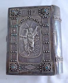 Praying book - Sidur - 12 tribes and moses - 925 sterling silver - filigree and turquoise gemstones - Bezalel Jerusalem - Israel - ca. 1950's