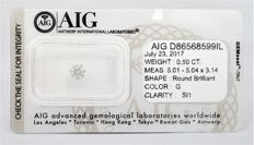 Round Brilliant - 0.50 carat -  G color -SI1 clarity - AIG -  SEALD certificate -  - 3 x  VG , Faint .
