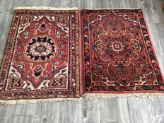 Lot of two hand-knotted carpets. Ahar, 107 cm x 79 cm and 104 cm x 74 cm, Iran, Period 1975.