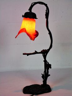 Wrought iron desk or standing light in glass paste - marked Ln plus brand logo.