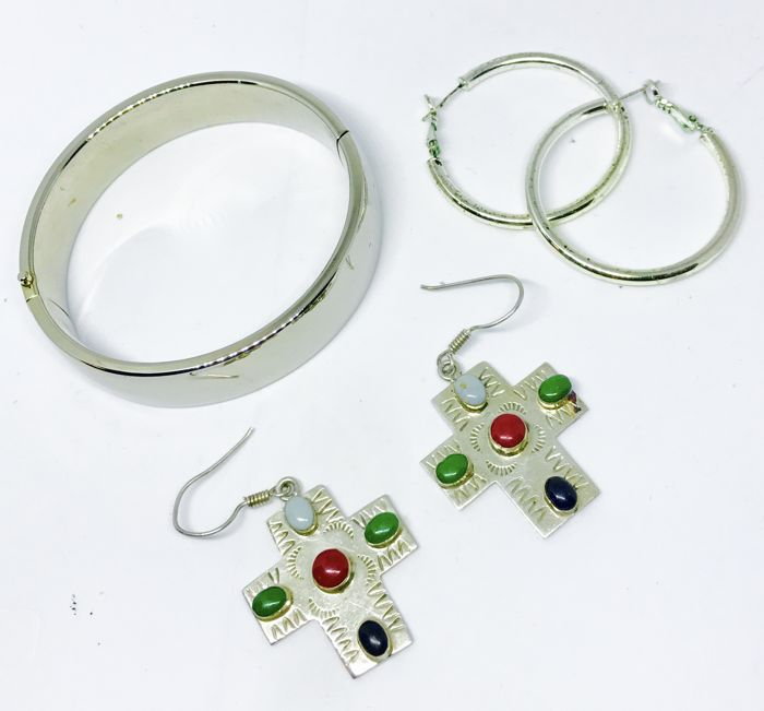 Sterling Silver 925 Taxco Mexico Colorful Natural Gemstone Cross Earrings, Large Hoops & Bangle Bracelet