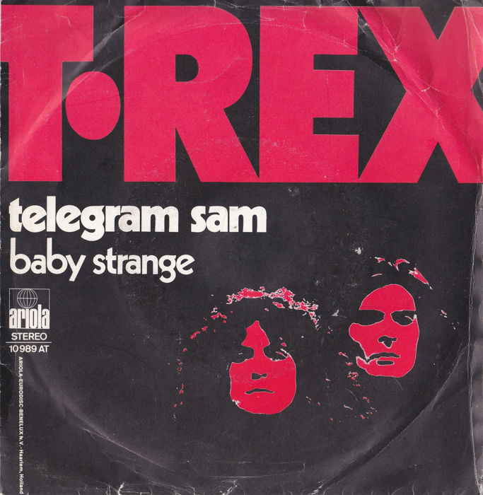 12 Singles by T Rex Marc Bolan + 7 Bowie 45's in mint + ps in vg to nm cond.