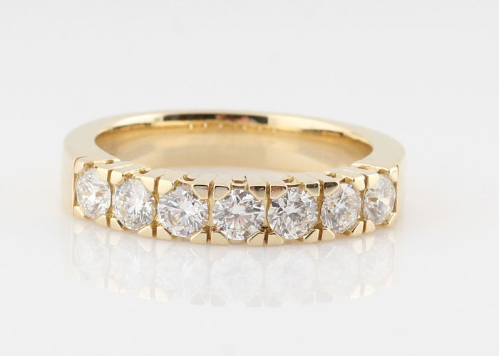 "14kt gold diamond ring total approx . 1.00ct / 5.60gr /  size  56.5 / G-H / VS2-VS1 / ""NEW"""
