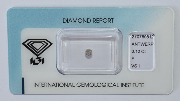 0.12 ct brilliant cut diamond, F, VS1