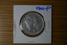 USA - Morgan Dollar 1901 & 1923 Peace Dollar (2 Coins) - silver