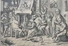 Pieter van der Heyden (Antwerpen 1530 - 1572) after Hieronymus Bosch (c. 1450 – 1516) published by Hieronymus Cock (1518 – 3 October 1570) - Shrove Tuesday or the Fool's Kitchen - 1567