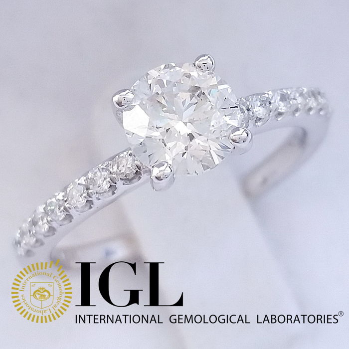 IGL 1.17 ct F/SI Round Brilliant Cut Diamond Ring 14 kt White Gold - size 52,5