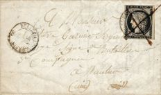 France 1849 – Ceres 20 c black cancelled from 12 January 49 type 15 and quill on letter, rare cancellation from January 49 - Yvert no. 3