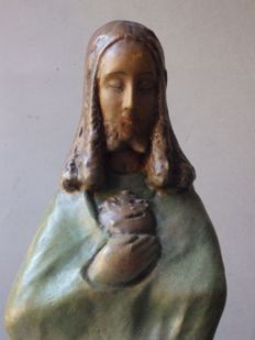 Alfons Noseda (1885 – 1945) - beautiful terracotta 'Sacred Heart of Jesus Christ' sculpture