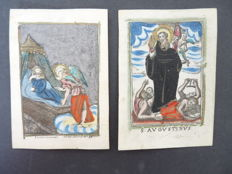 Prayer card - 2 hand-coloured engraved devotion cards - Southern Netherlands - 1700-1800