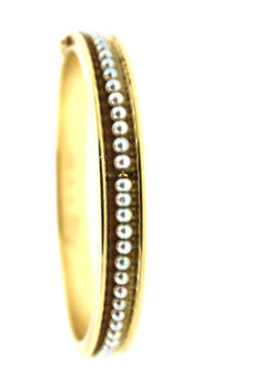 Bangle in 585/14 kt yellow gold with cultured pearls 28.5 g