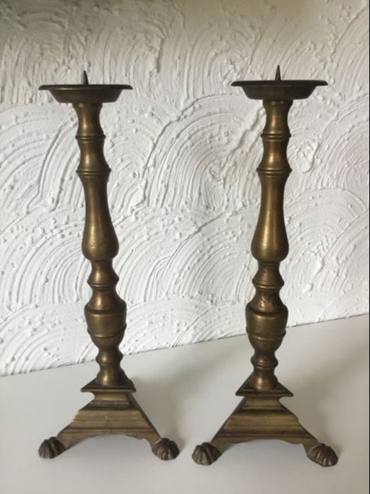 2 antique Church candlesticks. 39 cm.