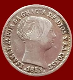España - Isabel II, 1 Real de plata, Madrid 1853 - 15 mm / 1,3 gr