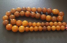 Antique Baltic Amber necklace old  Egg Yolk Butterscotch Amber 83 gr.