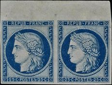 France 1850 – 25 centimes in blue in reprint pair from 1862 top sheet with certificate Ceres - Yvert no. 4d