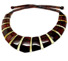 Wide necklace Baltic amber slices (not pressed) - length 48 cm- width 28 mm