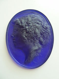 Large wall medallion in glass, France, early 20th century
