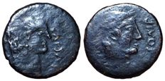 Roman Republic - The Triumvirs, Octavian and Divus Julius Caesar 38 BC,  - Æ Sestertius (28mm; 9,44gm), posthumous barbaric period - Head of Octavian / Head of Julius Caesar - RIC 535/1