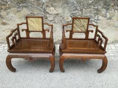 A pair of Chow Leg Monk armchairs - China - mid 20th century