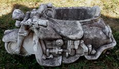 Recovered old motorcycle with sidecar made of grit and used as container - Italy, Veneto region - 20th century