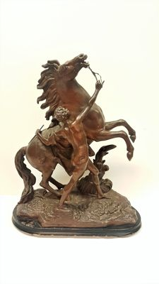 Large statue - man with horse on wooden stand - Austria - 1920