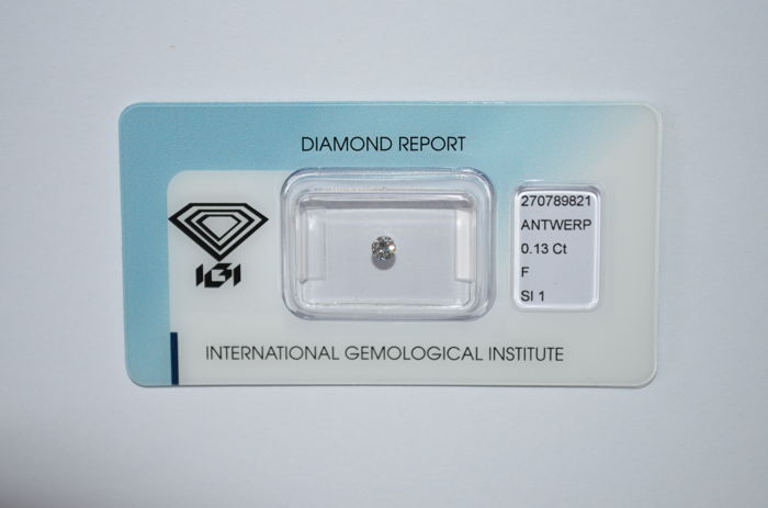 0.13 ct brilliant cut diamond, F, SI1