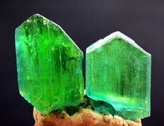 Lush Green Kunzite Hiddenite Crystals Pair - 83 gm (2)