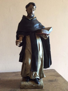 Dominican friar - lacquered wooden sculpture - 17th/18th century