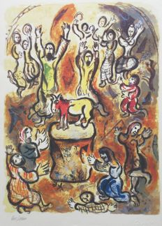 Marc Chagall (after) - Exodus, le veau d'or
