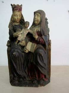 Virgin and Child with Saint Anne - Polychrome wooden sculpture - Portugal Sec. XIX
