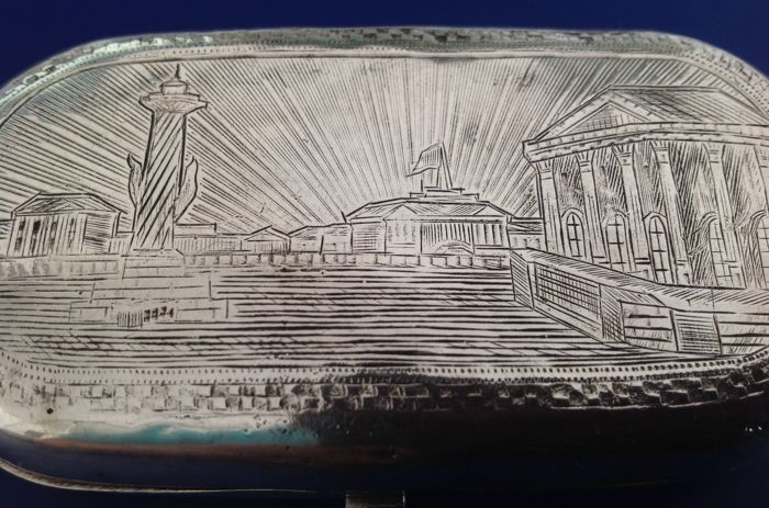 Silver engraved tobacco case with view of St. Petersburg, Alexander Yegarov, Moscow, 1875