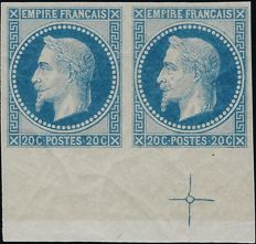 France 1867 - 20 centimes blue, Empire Lauré, fine impression of Rothschild in pair with marker cross and certificate - Yvert no. 29Ab
