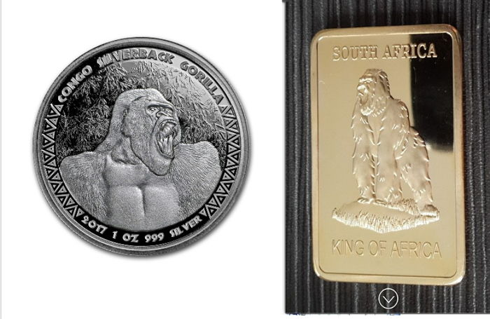 Scottsdale Mint - 5000 Francs - 1 oz 999 silver coin Republic of Congo Silverback Gorilla 2017 - Silverback + 1 oz medal bar Gorilla