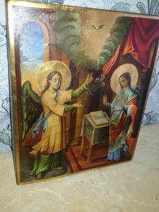 20th century ortodox russian icon of Virgin's Annunciation hand painted