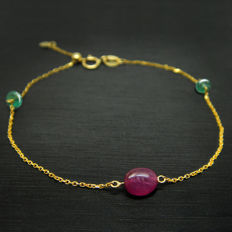 18K  bracelet with 0.9ct of rubies and 0.3ct of emeralds - 17mm