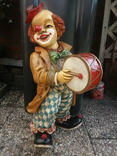 Big old standing clown with drum, Italy, 20th century