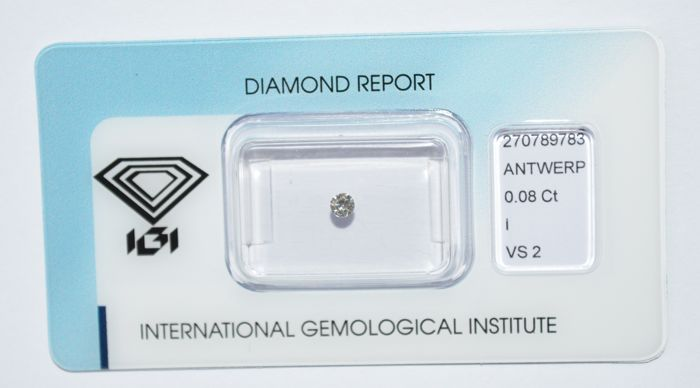0.08 ct briljant geslepen diamant, I, VS2