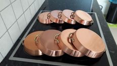 8 sauce or frying pans, red copper / stainless steel 18cm and 15cm